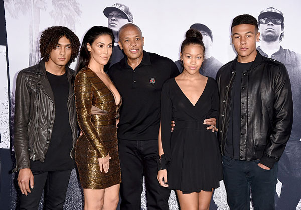 Nicole Young and Dr. Dre with their children