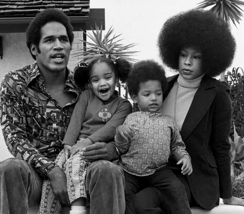 O.J Simpson and his first wife Marguerite Whitley with their children Arnelle and Jason