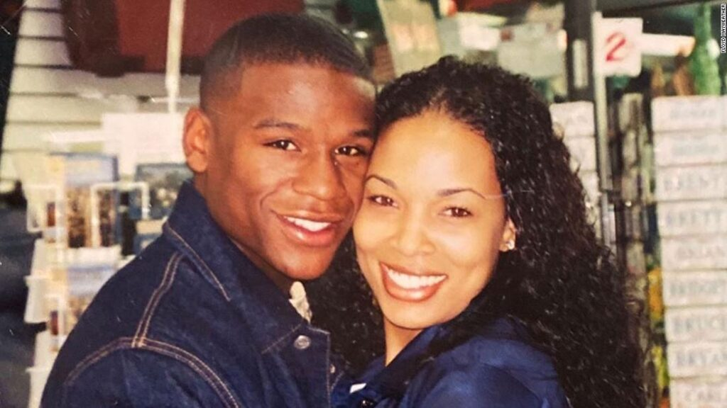 Young Floyd Mayweather Jr. and his wife